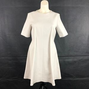 COS Cream Pleated Waist Fit Flare Career Dress Med